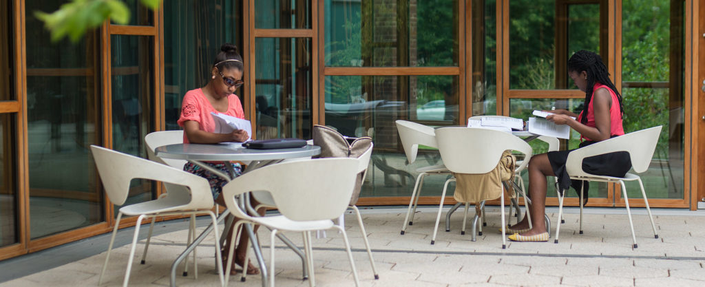 Students studying at a distance outside